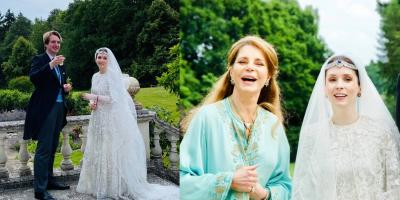 بالصور: الأميرة راية بإطلالة ملوكية في حفل زفافها..والحب لا